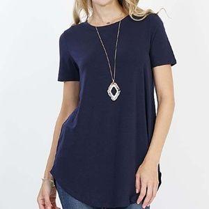 Tops - Blue Short sleeve curved hem top